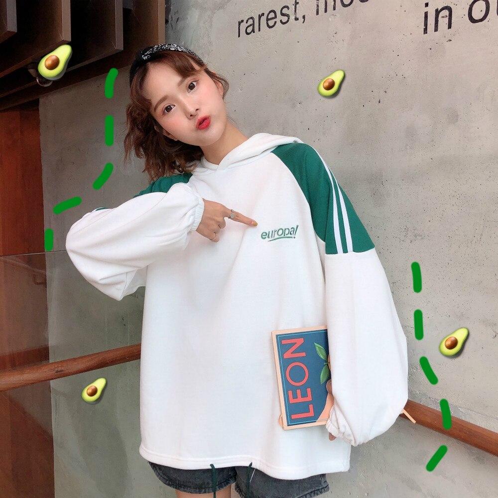 Ulzzang Street Style Women Sweatshirt Streetwear Fall 2019 Korea Letter Print Hoodie Oversized Loose Tracksuit Women Tops