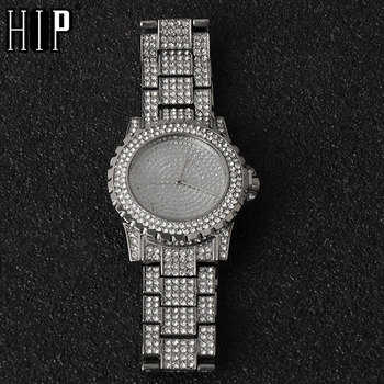 Mens Iced Out Watches Luxury Date Quartz Wrist Watches With Micropave CZ Stainless Steel Hip Hop Watch For Women Men Jewelry hip hop luxury mens iced out cz waterproof watches date quartz wrist watches with micropave alloy watch for men jewelry
