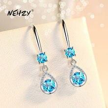 NEHZY – boucles d'oreilles longues en argent Sterling 925 pour femme, bijoux rétro, ajouré, bleu, rose, blanc, cristal, Zircon, offre spéciale, nouvelle collection
