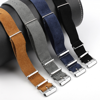 Onthelevel Soft Suede Watchband Nato Strap 20mm 22mm 24mm Genuine Leather Watch Belt Gray Blue Wrist Band Watch Accessoeies #C nato strap suede leather zulu watch band strap blue black soft watchband stainless steel square buckle 18mm 20mm 22mm 24mm