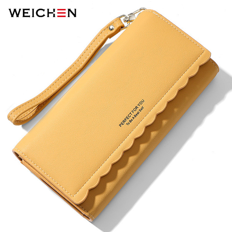 WEICHENG New Long Clutch Wallet Women Many Departmants Wristband Female Wallets Ladies Purse Card Holder Carteras Brand Designer