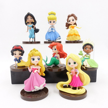 цена на 8pcs/sets Q Posket Princesses figure Toys Dolls Tiana Snow White Rapunzel Ariel Cinderella Belle Mermaid PVC Figures toys model