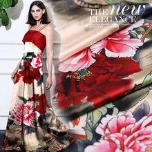 Nouveau jet d'encre numérique soie stretch satin tissu pivoine fleur robe en soie naturelle tissu en gros soie tissu 108cm
