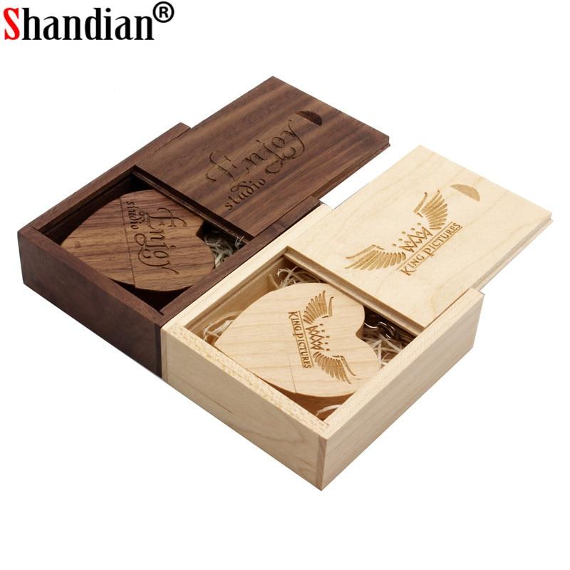 SHANDIAN Wooden Heart USB Flash Drive Pendrive 64GB 32GB 16GB 8GB 4GB U Disk USB 2.0 Memory Stick Wedding Gifts Free Custom Logo
