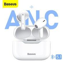 Baseus s1 tws sem fio fones de ouvido anc cancelamento ruído ativo toque estéreo bluetooth fone para iphone 12