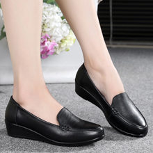 Cowhide Genuine Leather Shoes Women Non-slip Slip on Shoes Office Black Leather Shoes Girls Footwear Loafers Moccasins Female(China)