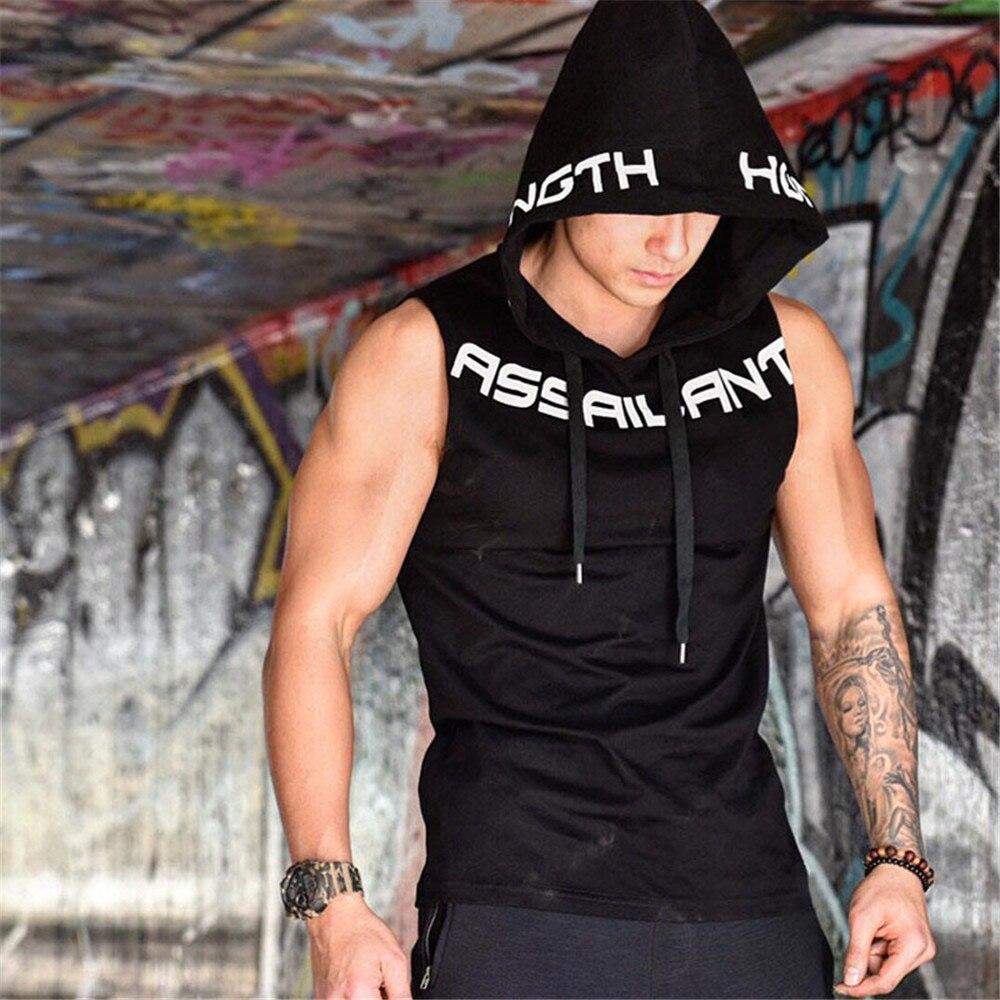 Gym Hooded Tank Top Men Fitness Bodybuilding Sleeveless Sweatshirt Hoodie Summer Casual Fashion Printed Vest Crossfit Clothing