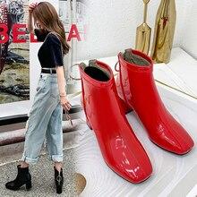 Botas para mujer de tacón alto cuadrado con cremallera y punta redonda, zapatos de mujer, Botines de Cuero charol, color blanco, rojo, negro y rosa, invierno y otoño