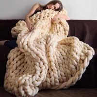 Модное толстое шерстяное одеяло ручной работы из мериносовой шерсти, толстое большое трикотажное Клетчатое одеяло, теплое одеяло для диван...