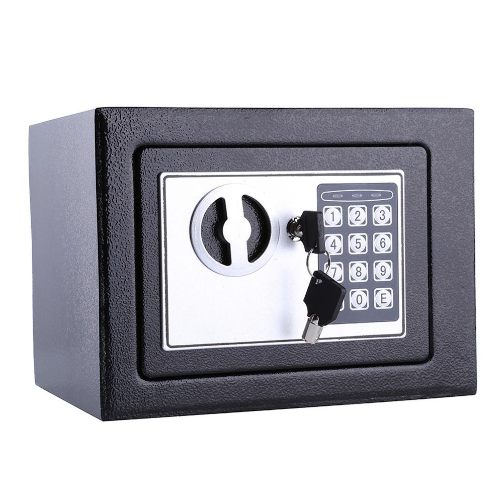 6.4L Security Lock Digital Safe Storage Box To Guard Money Cash Coins Jewelry Key Cash
