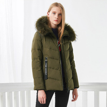 BOSIDENG femmes vers le bas manteau hiver épais doudoune mi longue véritable fourrure col épais parka rubans poche B70141058