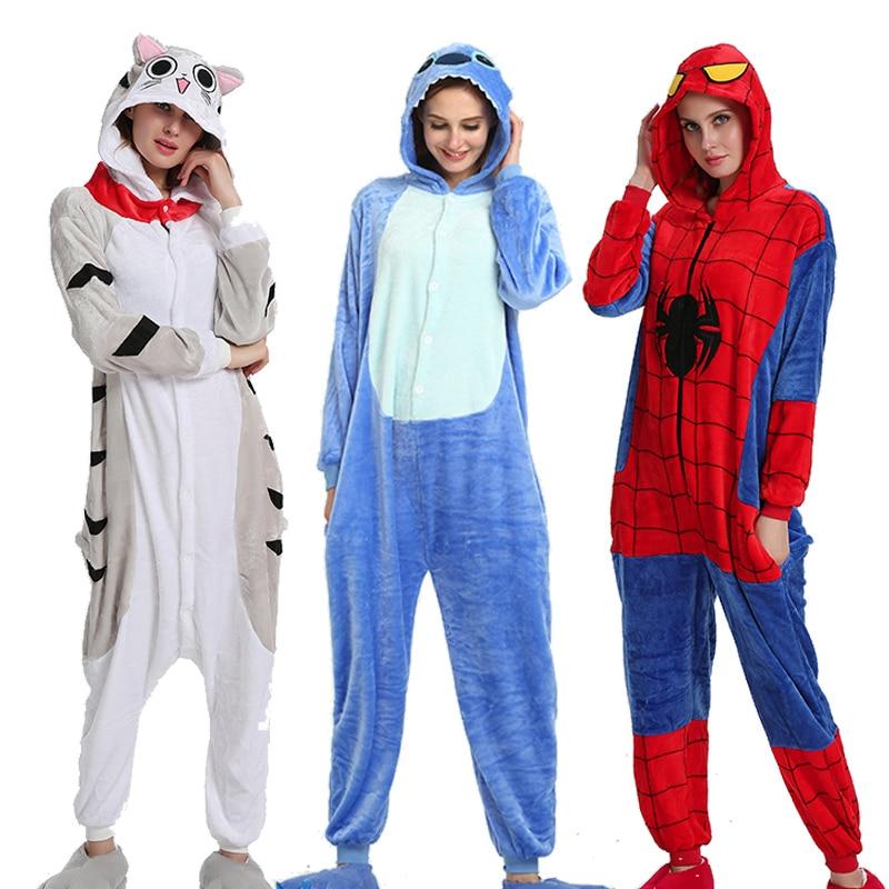 Flannel Kigurumi Onesies For Women Pajamas 2019 Winter Animal Cat Pyjamas  Adult Onesies Cosplay Pikachu Flannel Sleepwear