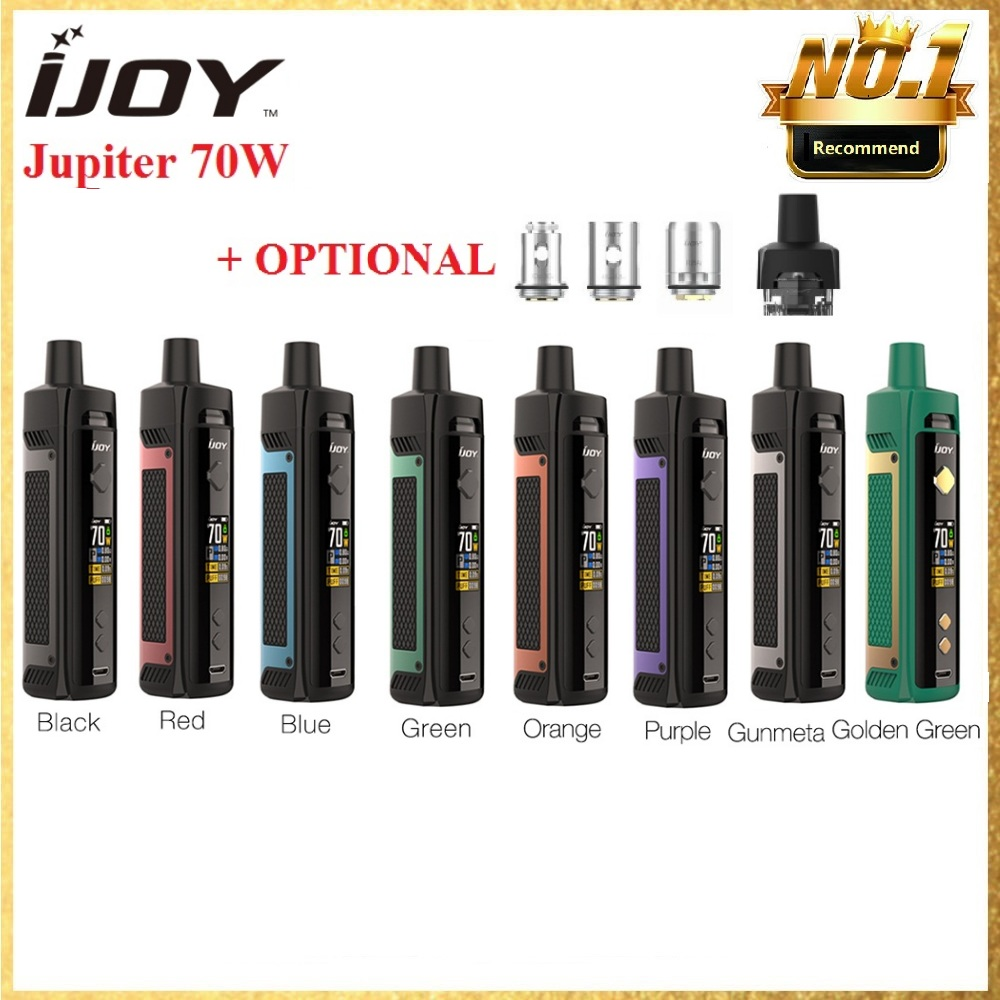Original IJOY Jupiter 70W Pod Kit 0.6/0.2ohm Mesh Coil Mesh RBA Coil 5ml Pod 0.96 Inch TFT Screen E-cig Vapor Vs Vinci X Mod Kit