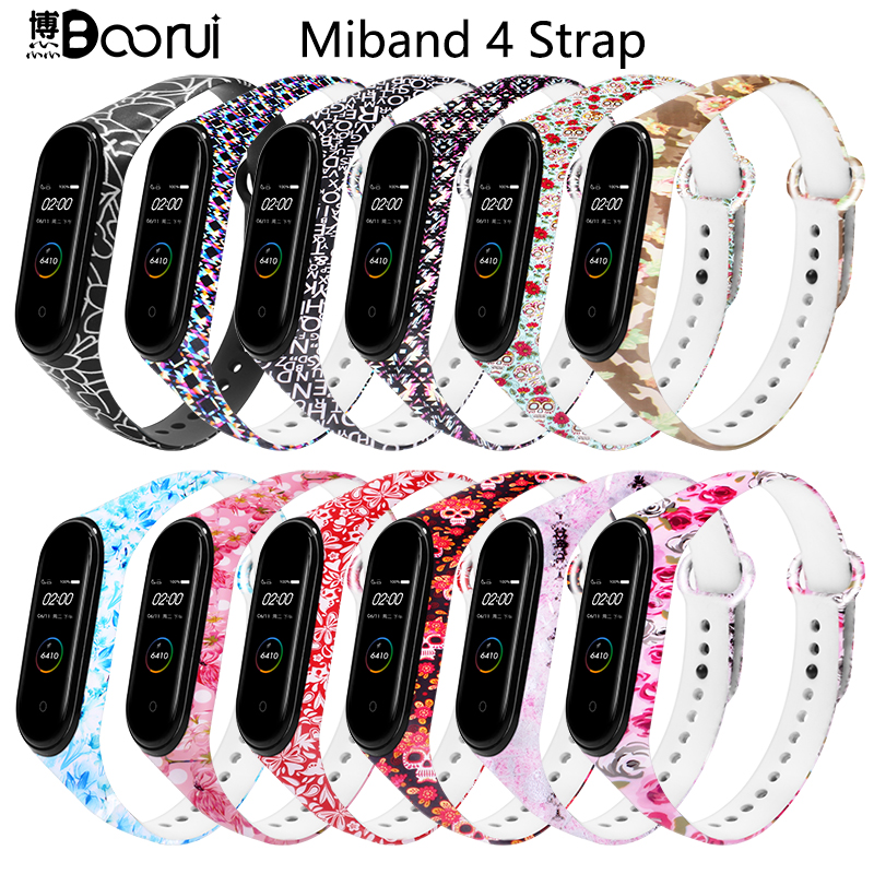 BOORUI Mi Band 4 Strap Smart Accessories Personalized Print Varied Flowers Silicone Replacement  For Xiaomi Miband 3/4 Strap