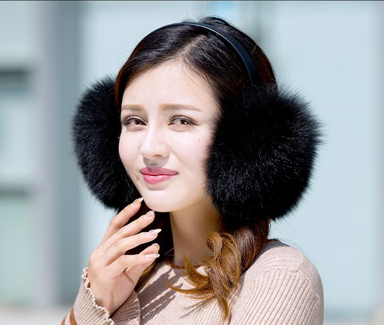Women's Real Fox Fur Earmuffs Winter Warm Earflaps Lovely
