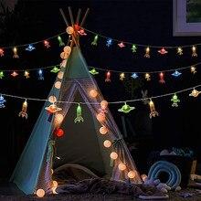 20 led sala de crianças led string luz astronauta nave espacial foguete pingentes luzes da festa do feriado janela parede berçário ou quarto das crianças