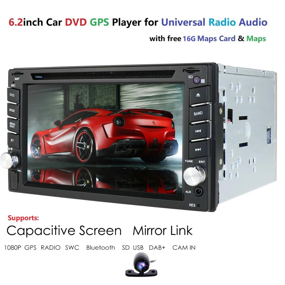 <font><b>6.2</b></font> <font><b>Inch</b></font> <font><b>2DIN</b></font> Universal Car DVD player Stereo Audio Head unit WINCE Car Multimedia RDS DAB SWC BT MAP CAMERA SD Mirror link cam image