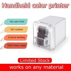 Impressora móvel portátil mini impressora a cores do teste padrão do logotipo da foto da tatuagem da multi-superfície
