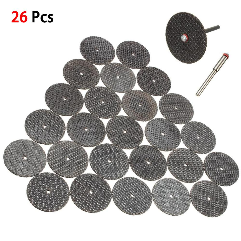 26PC Metal Cutting Disc For Dremel Grinder Rotary Tool Circular Saw Blade Saw Blade Silver Cutting Discs With 2X Connecting