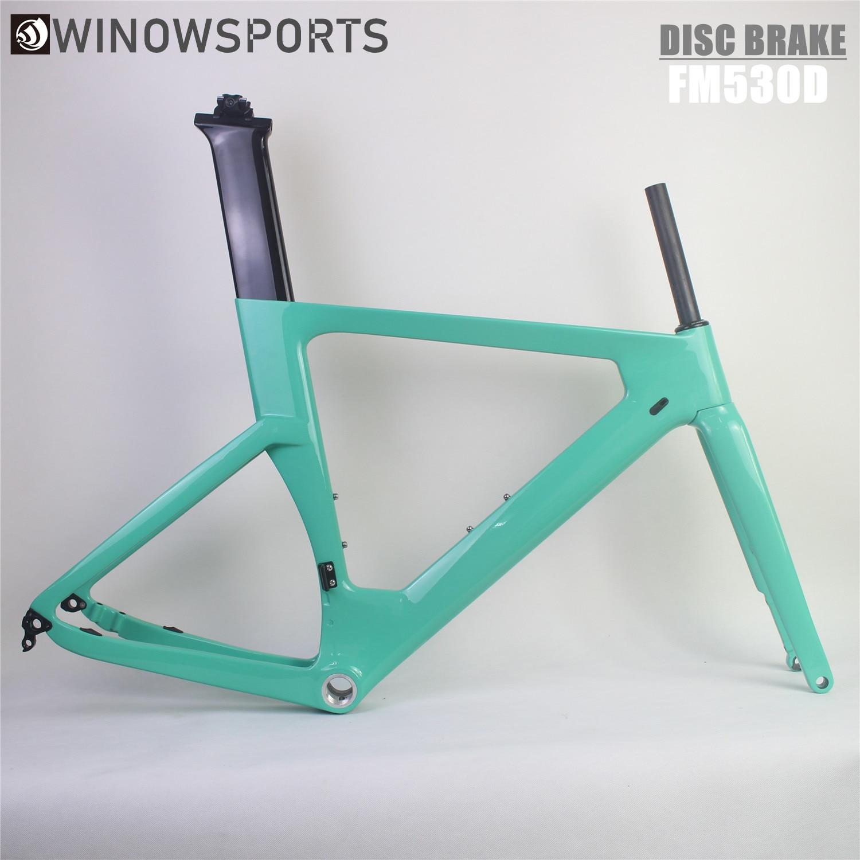 Winowsports New Carbon Disc Brake Road Bike Frame 140mm Rotor Di2 Carbon Fibre Road BSA Frame Max Tyres 700*30C TT Disc Frameset