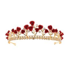 Rose Crystal Bridal Hair Crown Tiara Wedding Princess Hair Crown Wedding Princess Diadem Headwear wedding hair accessories(China)