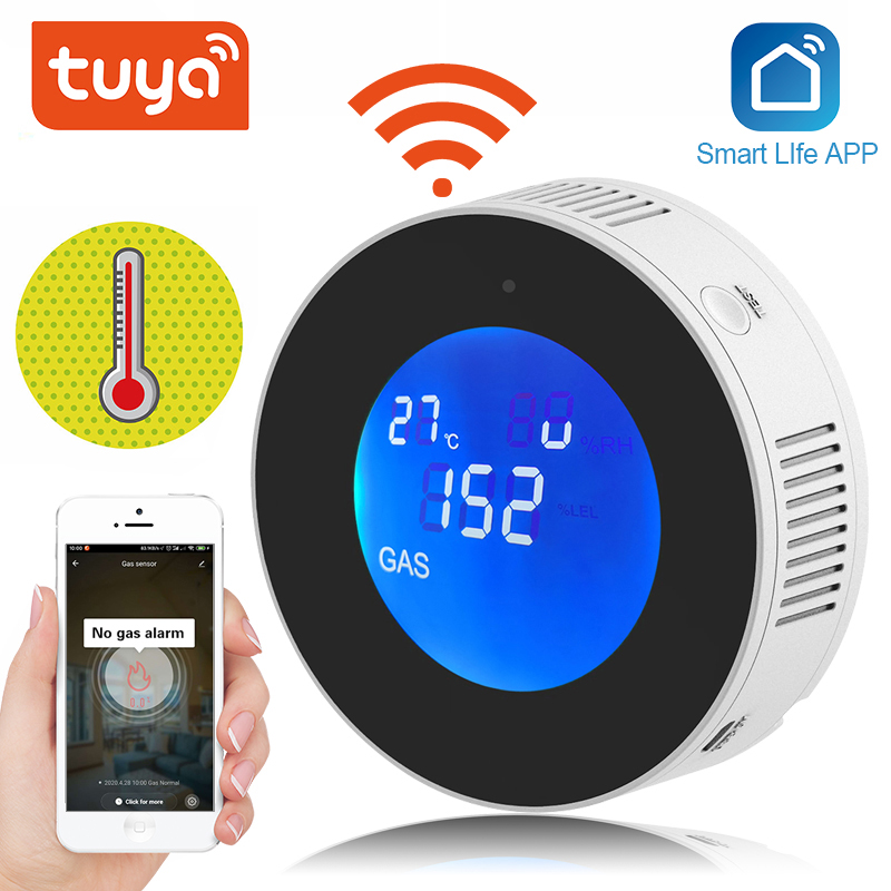 Tuya Wifi Smart Natural Gas Alarm Sensor With temperature function Combustible Gas Leak Detector LCD Display  Smart Life App