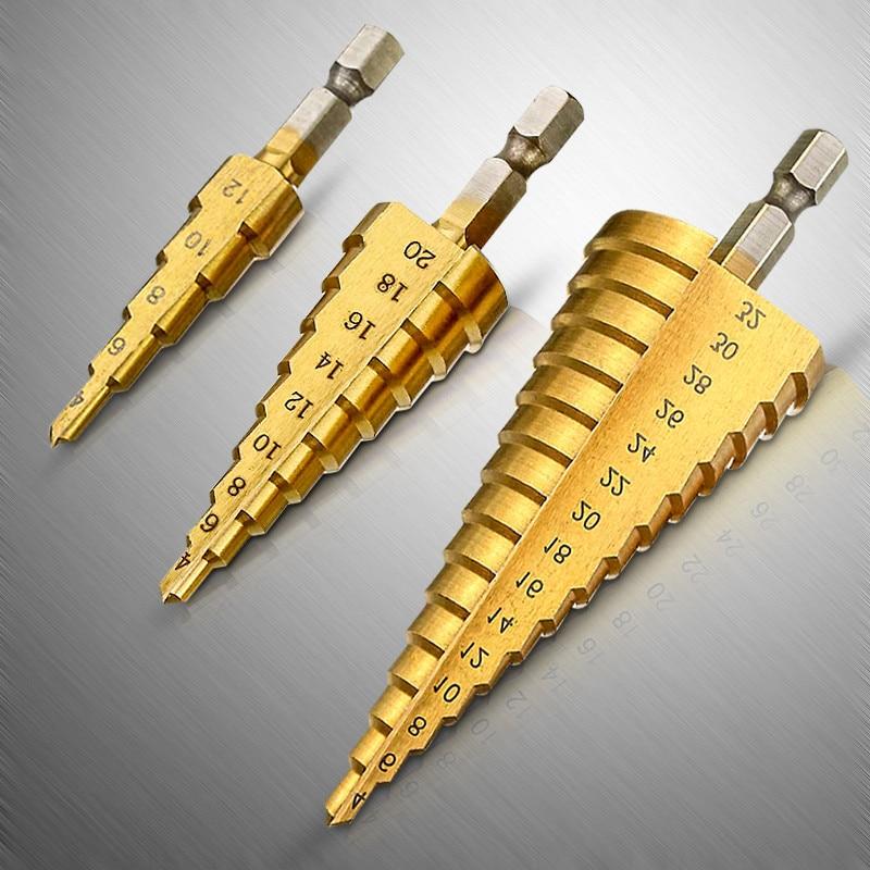 Step HSS 4-12/20/32mm Steel Step Drill Bit Metric Spiral Flute 4241 Cone Titanium Coated Hole Cutter Drill Bits Tool Set