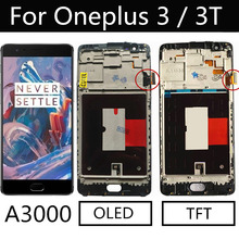 """5.5"""" OLED LCD For Oneplus 3 3T A3000 LCD Display Touch Screen With Frame Digitizer Assembly Replacement Parts For Oneplus 3T LCD"""