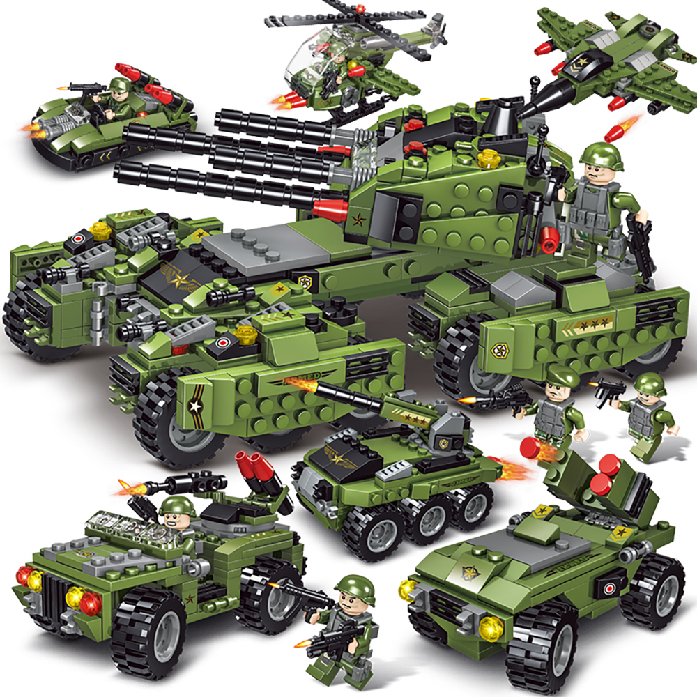 710PCS Tank Building Blocks Helicopter Vehicle Aircraft Boy Toys Figures Educational Blocks Military Compatible LegoED Bricks