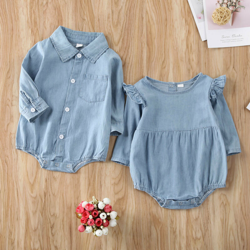 Newborn Long Sleeve One Pices Bodysuits 2020 Body Baby Boy Girl Denim Bodysuit Playsuit Outfit Set Clothes
