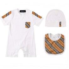Girl Romper Shoes Plaid Newborn-Baby Boys Cotton Fashion Summer Matching-Set Striped