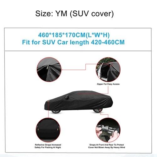 X Autohaux Универсальный Полный чехол для автомобиля крытые наружные автомобильные чехлы Снежный лед водонепроницаемый защита от пыли защита от солнца УФ-защита для всех сезонов - Название цвета: YM-460x185x170cm