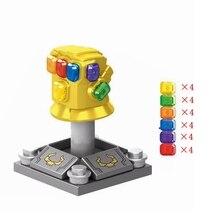 Одиночные Большие размеры Legoings Marvel серии золотые бесконечные перчатки Кристалл 24 шт Мстители игрушки хобби строительные блоки Marvels Thanos