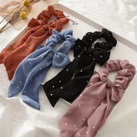 2021 Fashion DOT Ponytail Scarf Bow Elastic Hair Rope Ties Scrunchies For Women Girls Elegant Hair Bands Accessories