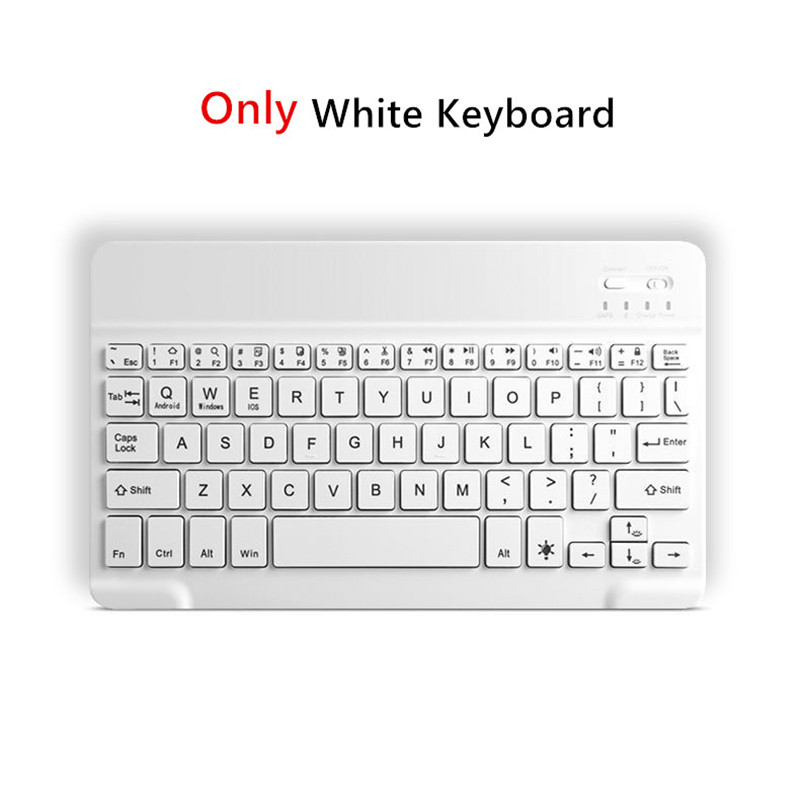 Only White Keyboard White Bluetooth Keyboard Case For Apple iPad 10 2 2019 7th Generation PU Leather Cover for iPad