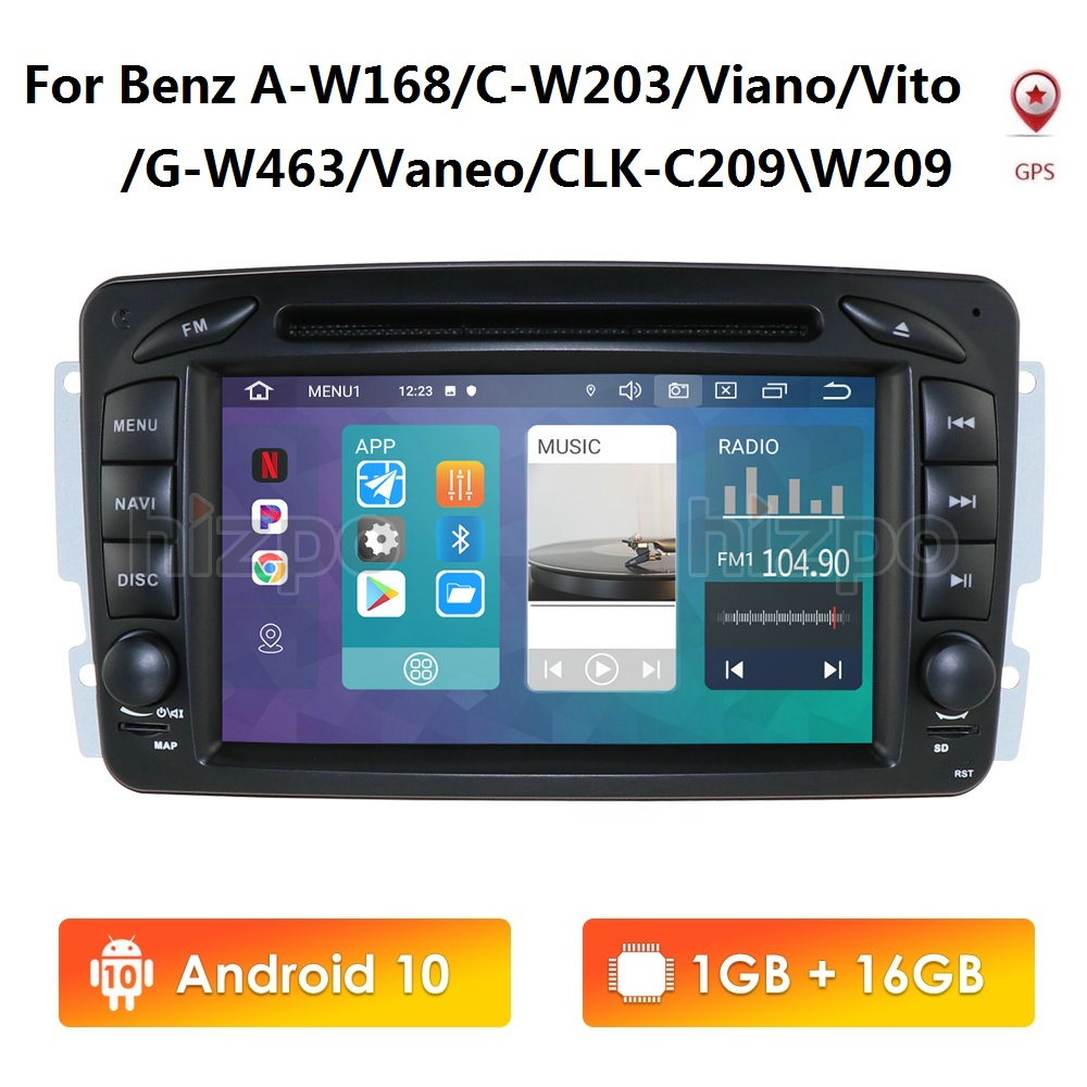 Android 10 2 Din 7'' IPS 1080P HD Car Radio DVD Player GPS For Mercedes Benz CLK W209 W203 W208 W463  With Mirror Link BT SWC
