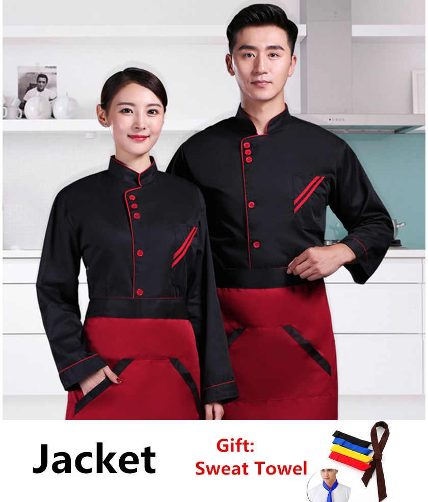 dailymall Unisex Stitched Chef Jacket Long Sleeve Hotel Kitchen Uniform Work Clothes