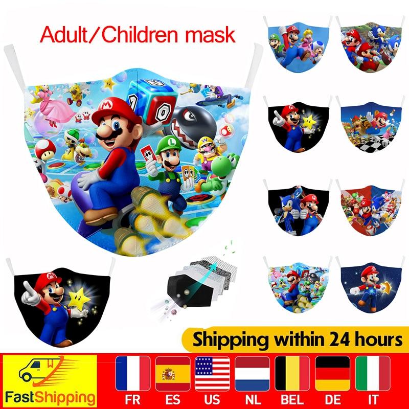 Тканевая маска Super Mario для детей, моющаяся защитная маска для лица с фильтром PM2.5, Ветрозащитная маска для рта и взрослых, многоразовая хлопко...