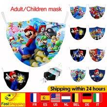 Máscara de tecido super mario máscaras para crianças lavável pm2.5 filtro máscara protetora à prova vento boca adulto reutilizável algodão