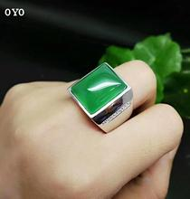 925 Silver Inlaid Natural Agate Emperor Green Chalcedony Ring Men's Pull Ring sterling silver inlaid green chalcedony ring silver retro female food