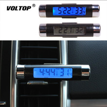 Thermometer Electronic Clock Car Ornaments Accessories Two In One LED Digital Blue Backlight Install Air Outlet