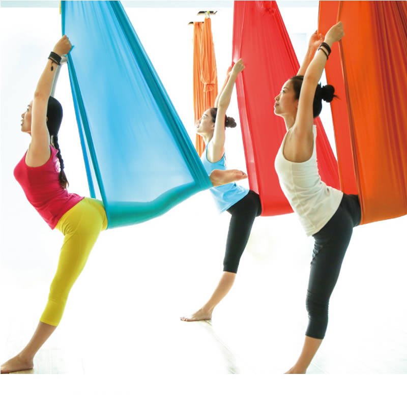 Full Set 5*2.8m High Strength Nylon Anti-Gravity Yoga Hammock Swing Yoga Hanging Belt Home Gym Fitness Body Building Equipment