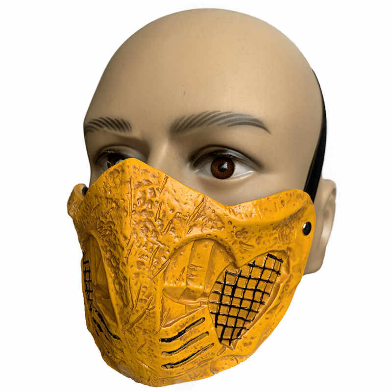 New Latex Type Mortal Kombat X Mask Scorpion Cosplay Halloween