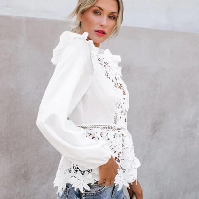 Women Floral Lace Blouses Boho Long Sleeve White Tops Ladies Hollow Out Shirts Autumn Spring Elegant Blouse Streetwear S-XL 2