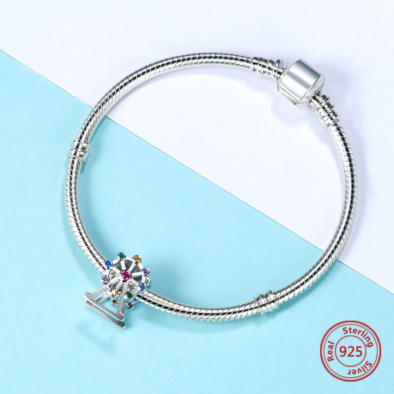 new fashion pandora charms silver 925 original Ferris wheel with CZ beads for jewelry making Accessories women anniversary gift in Beads from Jewelry Accessories
