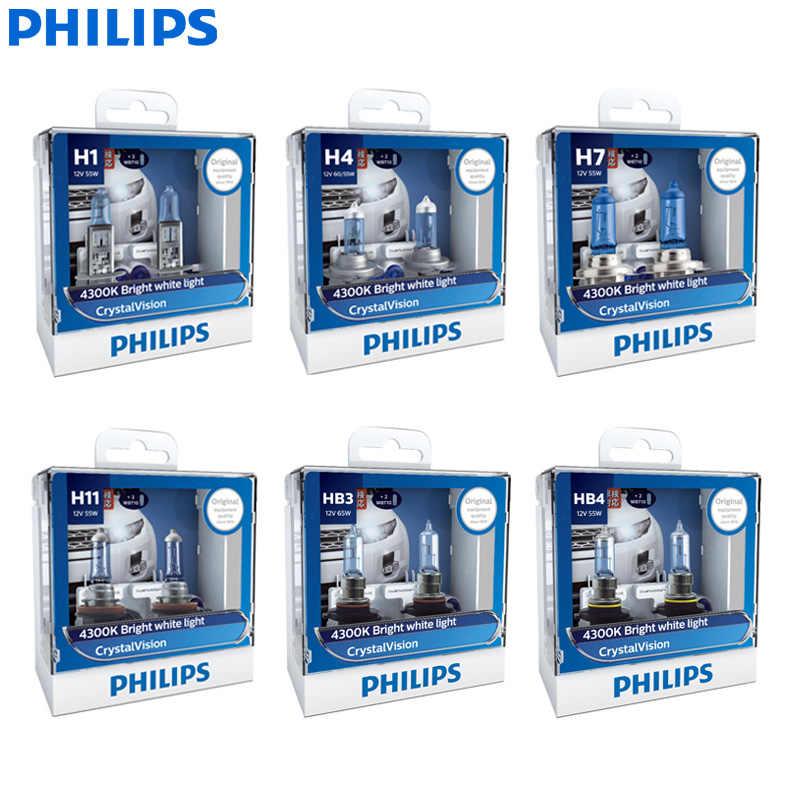 Philips Crystal Vision H1 H4 H7 H11 HB2 HB3 HB4 9003 9005 9006 12 V CV 4300 K bright white car halogen headlight