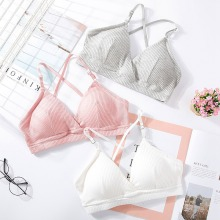 Simple Women Bra Thin Seamless Wire Free Bralette Backless Bras For Sexy Underwear Deep V Solid Color Triangle Cup