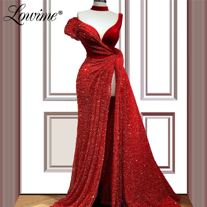 Red Beaded Long Prom Dresses High Split Side Saudi Arabic One Shoulder Evening Dress Robe De Soiree Dubai Party Gown 2020 Custom