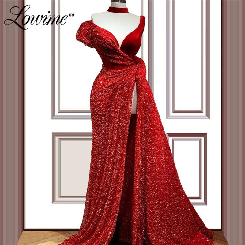 Red Beaded Long Prom Dresses High Split Side Saudi Arabic One Shoulder Evening Dress Robe De Soiree Dubai Party Gown 2020 Custom