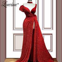 Rouge perlé longues robes De bal haut fendu côté saoudien arabe une épaule Robe De soirée Robe De soirée dubaï Robe De fête 2020 personnalisé